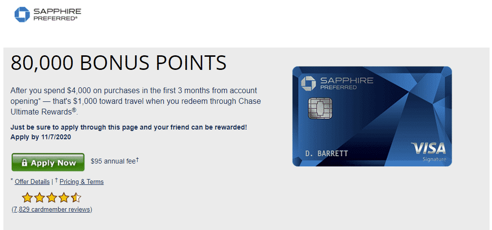 credit card sign up bonus Chase Sapphire