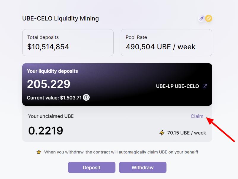 ubeswap screenshot showing liquidity returns from celo-ube pair