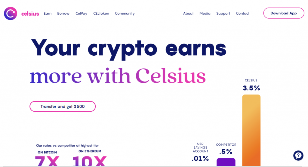 An image of the Celsius Network website, where you can make a passive income with crypto.