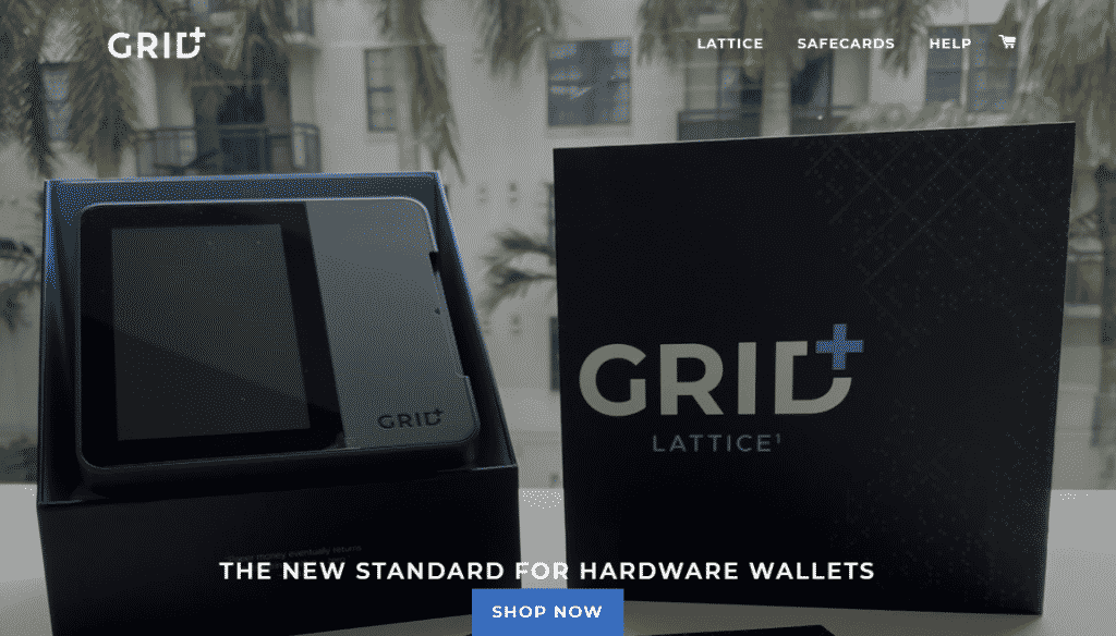 A screenshot of the GRID+ website showing the Lattice1 hardware wallet