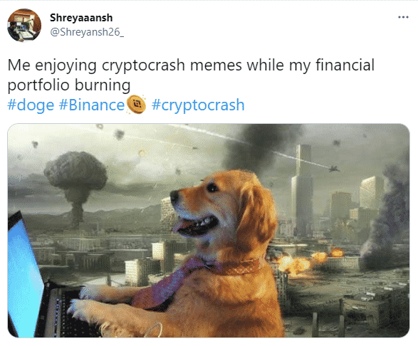 Screenshot from Twitter with a funny tweet on crash of cryptocurrencies