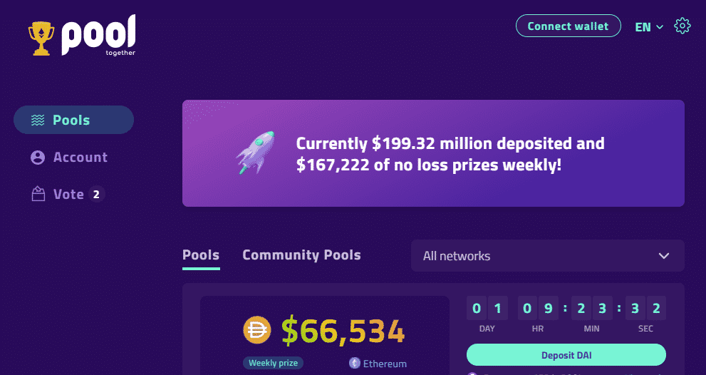 A screenshot of PoolTogether - a platform where you can do stablecoin yield farming