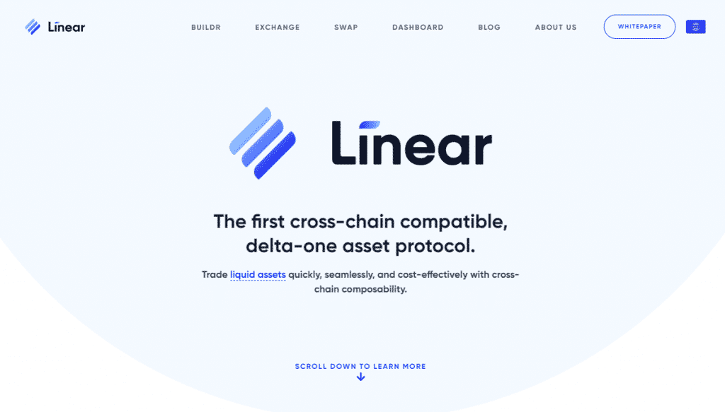 A screenshot of Linear Finance - a website for creating and managing crypto synthetic stocks and other assets.