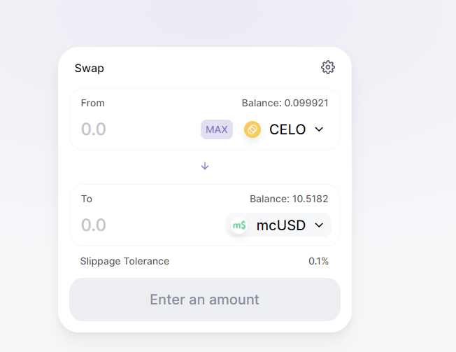 A screenshot showing how to swap coins on Ubeswap