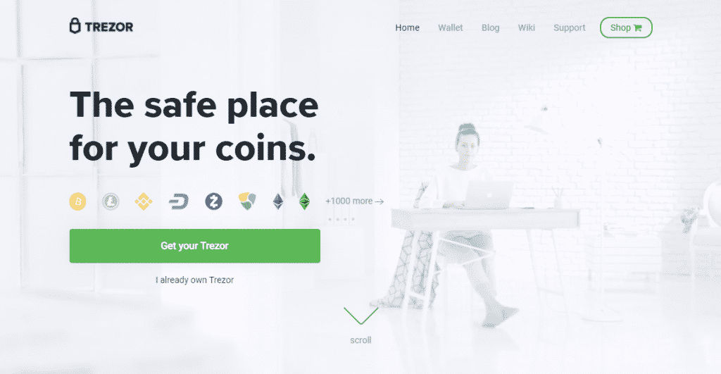 A screenshot of the Trezor website showing the coins it supports in its wallet.