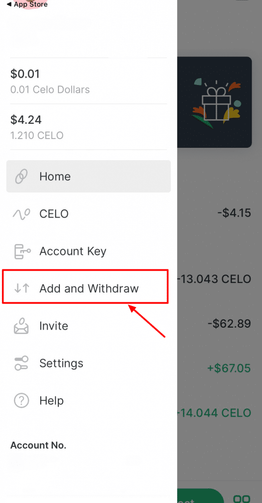 a screenshot of the Valora app showing how to add money to your account
