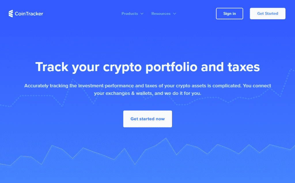 a screenshot of the CoinTracker crypto tax software website
