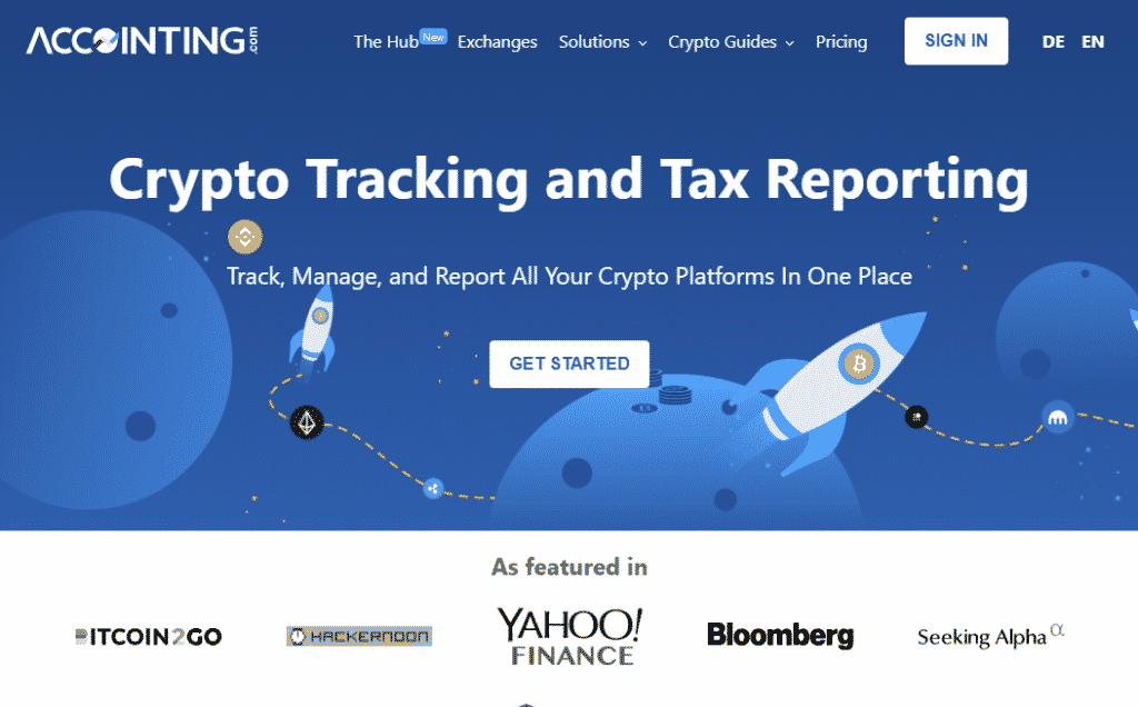 a screenshot of the Accointing crypto tax software website