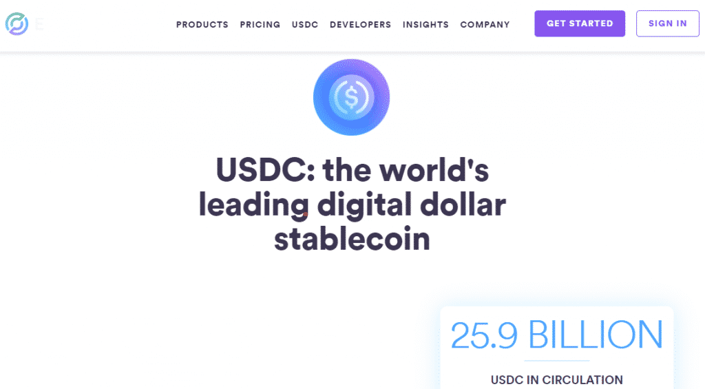 a screenshot of the USDC website - a fiat-backed stablecoin