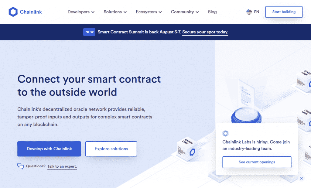 a screenshot of the Chainlink website - a cryptocurrency with fixed supply like bitcoin