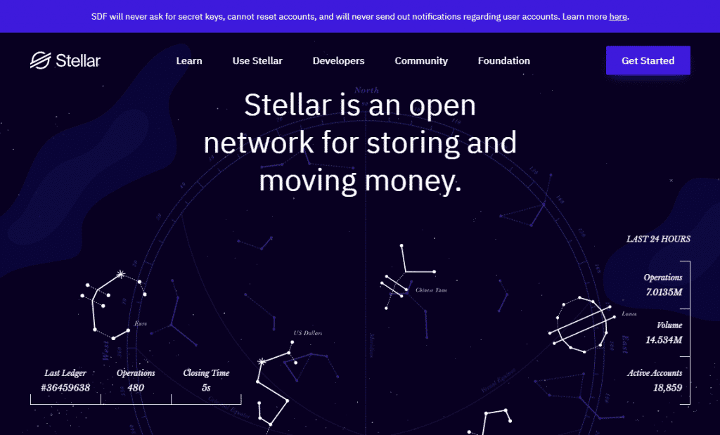 a screenshot of the Stellar website - a cryptocurrency with fixed supply like bitcoin