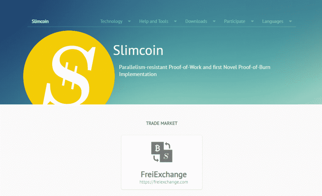 an image of slimcoin proof of burn website