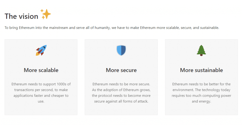 a screenshot of the ethereum site showing the vision of ethereum 2.0