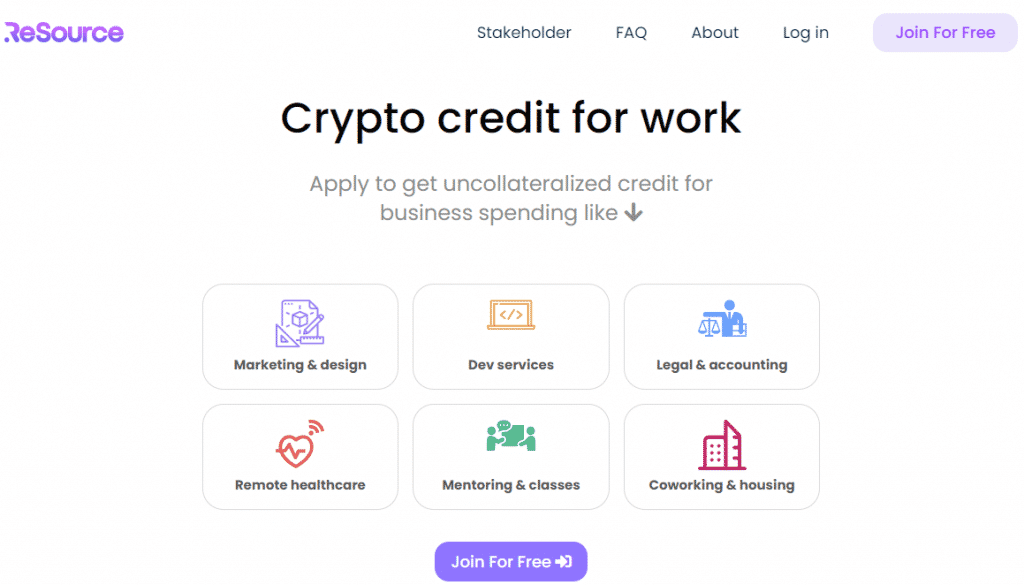 a screenshot from the Resource Network website showing what the unsecured business loans or crypto credit can be used for