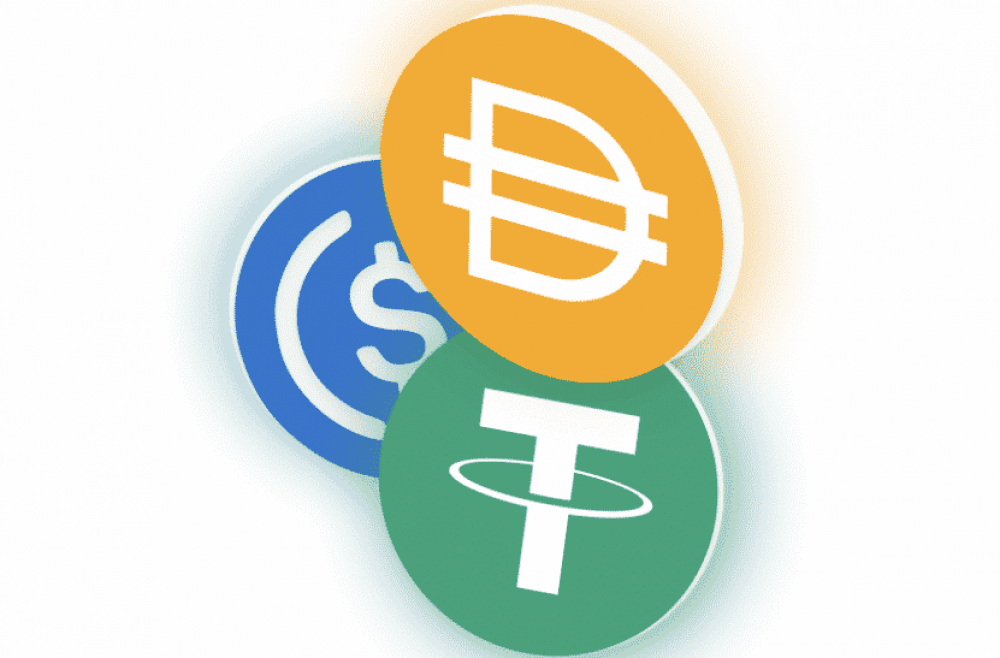 logos of stablecoins for yield farming