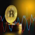 an image of bitcoin logo on a coin with charts surrounding it to represent bitcoin halving