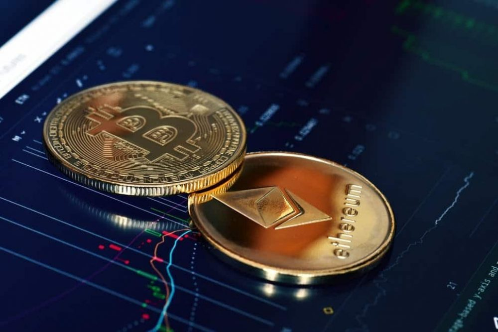 image of bitcoin coin and ethereum coin