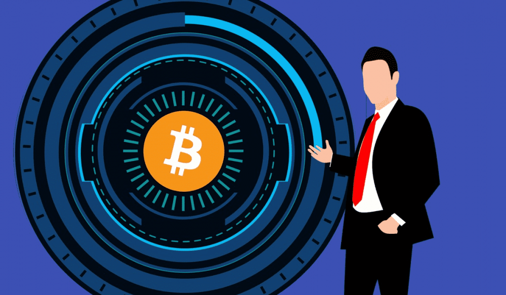 a carton featuring a man beside a vault-like circle and bitcoin logo to represent smart contract